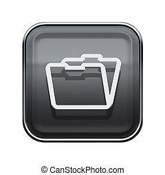 Folder icon glossy grey, isolated on white background