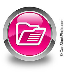 Folder icon glossy pink round button