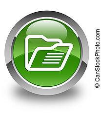 Folder icon glossy soft green round button