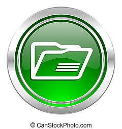 folder icon, green button
