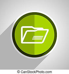 folder icon, green circle flat design internet button, web and mobile app illustration