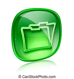 Folder icon green glass, isolated on white background