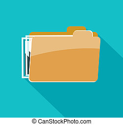 Folder icon, isolated on blue background