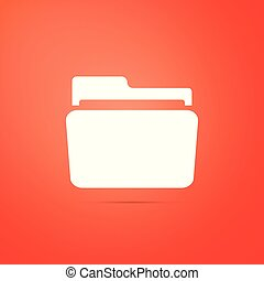 Folder icon isolated on orange background. Flat design. Vector Illustration