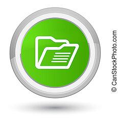 Folder icon prime soft green round button