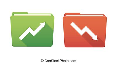 Folder icon set with graphs