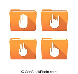 Folder icon set with hands