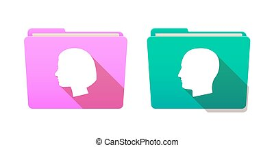 Folder icon set with heads