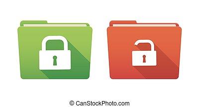 Folder icon set with lock pads