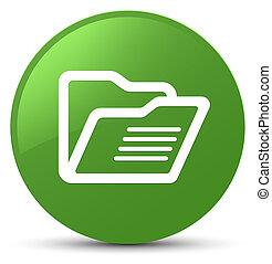 Folder icon soft green round button