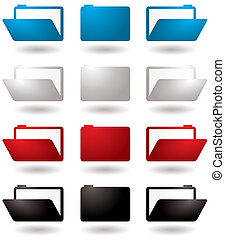 folder icon - Illustrated 3d folder icons in four colour...