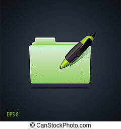 folder icon witg green pen
