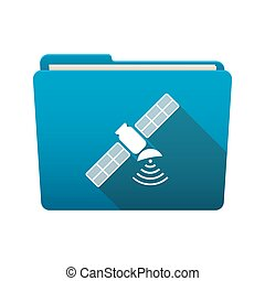 Folder icon with a satellite