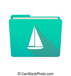Folder icon with a ship