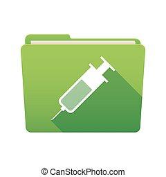 Folder icon with a syringe