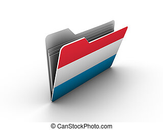 folder icon with flag of luxembourg