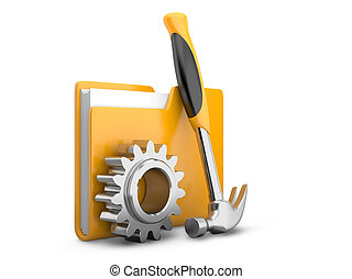 folder icon with gear wheel and hammer