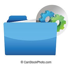 folder icon with gear wheel illustration design over white