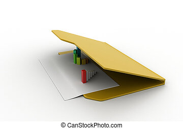 Folder icon with paper sheet and 3D Graph