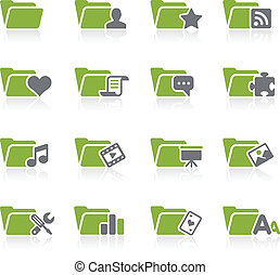 Folder Icons - 2 -- Natura Series - Green vector icon set...