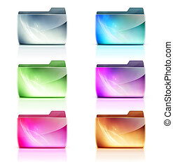 Folder icons - illustration set of cool colorful interface...