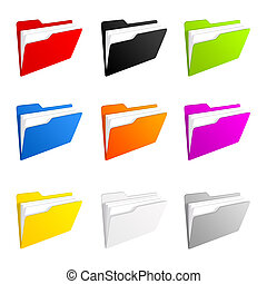 Folder icons - Illustration of a colorful set of folder...