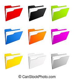 Folder icons - Illustration of a colorful set of folder...