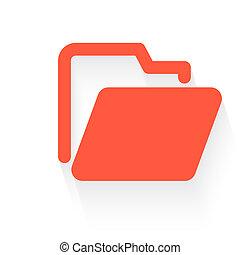 folder in orange with drop shadow on white