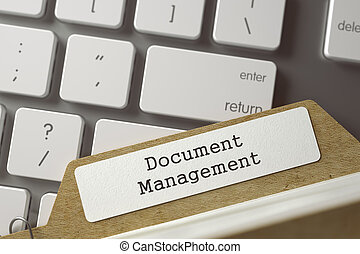 Document Management Concept. Word on Folder Register of Card Index. File Card Lays on Modern Keyboard. Closeup View. Blurred Toned Image. 3D Rendering.