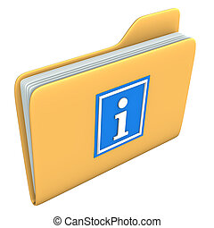 Folder Info - Yellow folder with blue information symbol on...