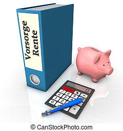 Folder Insurance Pension - Blue folder with german text ...