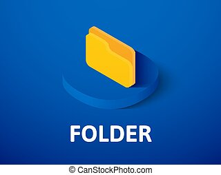 Folder isometric icon, isolated on color background