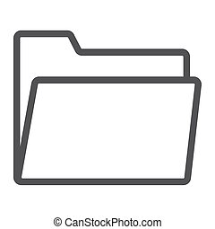 Folder line icon, web and mobile, file sign vector graphics, a linear pattern on a white background, eps 10.