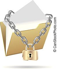 Folder locked by a chain. Isolated on white background.