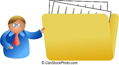 folder man - business man holding giant folder of files -...