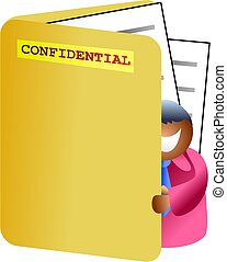 folder man - business man looking inside a confidential file...