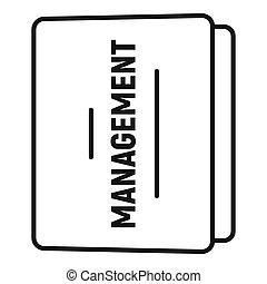 Folder management icon, outline style