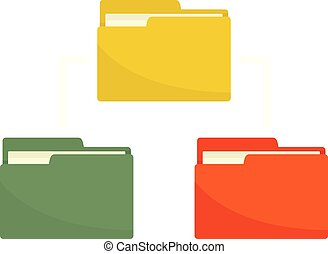 Folder network icon, flat style
