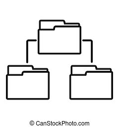 Folder network icon, outline style