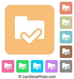 Folder ok rounded square flat icons