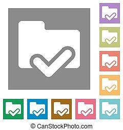 Folder ok square flat icons