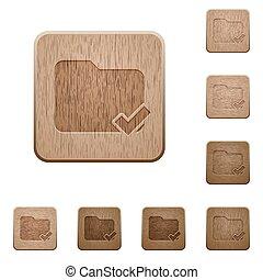 Folder ok wooden buttons