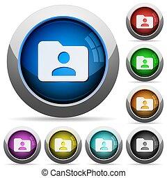 Folder owner button set - Set of round glossy Folder owner...