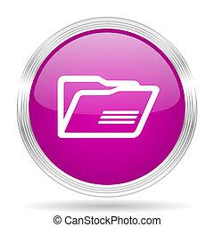 folder pink modern web design glossy circle icon