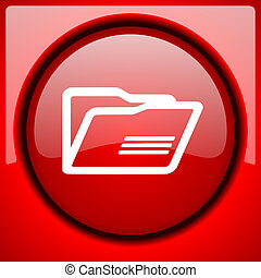 folder red icon plastic glossy button