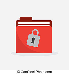 Folder Red Lock Icon - Red folder with lock icon