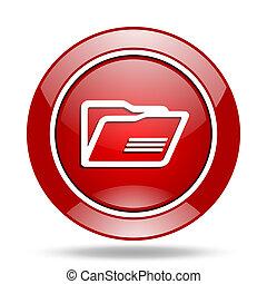 folder red web glossy round icon