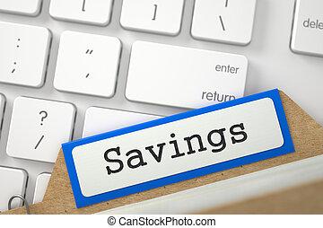 Folder Register with Inscription Savings. 3D.