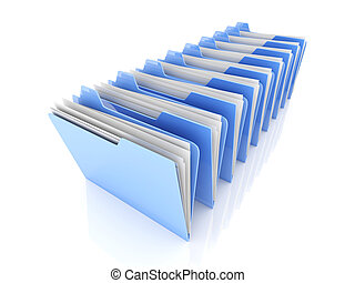 Folder row - 3D rendered Illustration. Isolated on white.