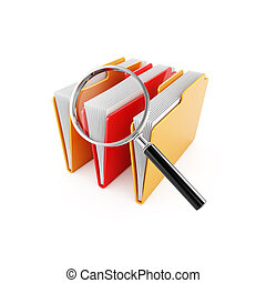 Folder search - 3d illustration of computer folders with ...